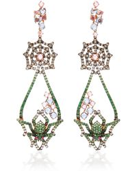 Wendy Yue - 18k Rose Gold, Tsavorite, Sapphire, Diamond And Ruby Earrings - Lyst