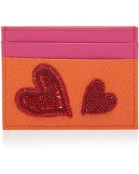 Dolce & Gabbana | Love Heart Embroidered Leather Card Case | Lyst