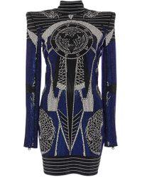 Balmain - Power Shoulder Beaded Cady Dress - Lyst
