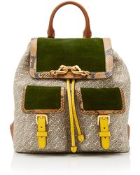 Tory Burch - Jessa Printed Jacquard Flap Backpack - Lyst