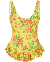 Caroline Constas - Tinos Ruffled Floral-print Swimsuit - Lyst