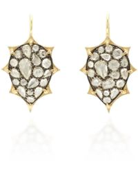 Sylva & Cie - 18k Yellow Gold, White Rose Cut Diamond Earrings - Lyst