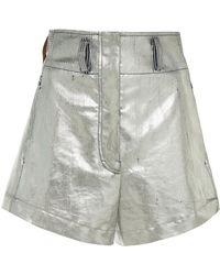 Cedric Charlier - Metallic Cotton Shorts - Lyst