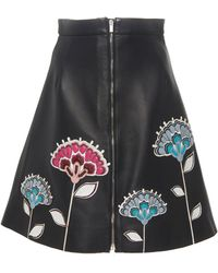 Carolina Herrera - Embroidered Leather Mini Skirt - Lyst