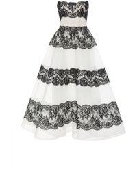 Monique Lhuillier - Cross Hatch Lace Strapless Tea Length Gown - Lyst