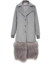 Lela Rose - Fur Panel Coat - Lyst