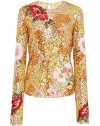 Naeem Khan - Embroidered Floral Sequin Top - Lyst