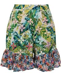 All Things Mochi - Baila Ruffled Printed Cotton-voile Shorts - Lyst