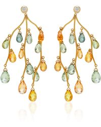 Gioia - Branch 18k Gold And Sapphire Chandelier Earrings - Lyst