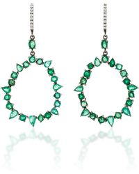 Nina Runsdorf - M'o Exclusive One-of-a-kind Emerald And Diamond Jagged Edge Earring - Lyst