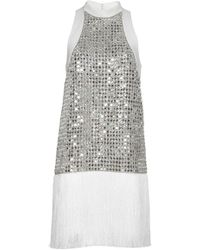 Ralph & Russo - Embellished Silk Mini Dress With Fringe - Lyst