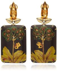 Silvia Furmanovich - Marquetry Brown Butterfly Rectangular drop Earrings With Light Brown Diamonds and Citrine - Lyst