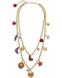 Dolce & Gabbana - Double Chain Charm Brass Necklace - Lyst