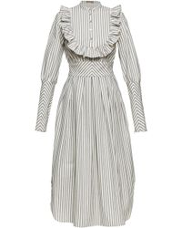 Lena Hoschek - Puritan Ruffled Striped Cotton-poplin Dress - Lyst