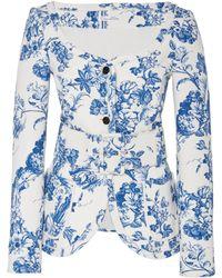 Oscar de la Renta - Collarless Floral Stretch-cotton Jacket - Lyst
