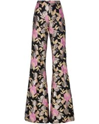 Christian Siriano - Psychedelic Floral Brocade Flare Trouser - Lyst
