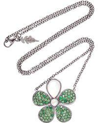 Colette - Flower 18k Black Gold, Tsavorite And Moonstone Necklace - Lyst