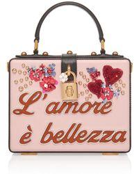 4c735eb8b91f Dolce   Gabbana - Embellished Leather Box Tote - Lyst