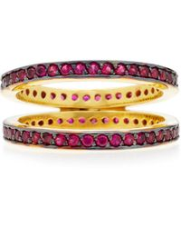 Joanna Laura Constantine - Gold-plated Ruby Crisscross Ring - Lyst