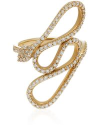 Lynn Ban - Serpent Coil 14k Gold Diamond Ring - Lyst