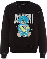 Amiri - Oversized Distressed Printed Loopback Cotton-jersey Sweatshirt - Lyst