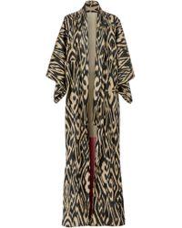 Oscar de la Renta - Long Printed Silk Robe - Lyst