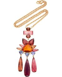 Irene Neuwirth - One-of-a-kind 18k Gold Pink Tourmaline And Fire Opal Necklace - Lyst