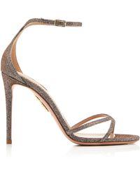 Aquazzura - Purist Glittered Leather Sandals - Lyst