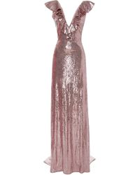 Monique Lhuillier - Sequin Ruffled V-neck Gown - Lyst