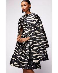 Oscar de la Renta - Straight Neck Paneled Zebra Print Midi Dress - Lyst