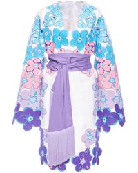 Yuliya Magdych - Besame Mucho Embroidered Linen Cape Sleeve Dress - Lyst