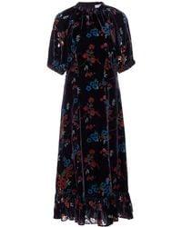 Sea Floral-print Velvet Midi Dress - Blue