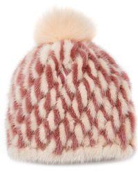 Pologeorgis - The Mink Two Toned Hat With Fox Pom Pom - Lyst