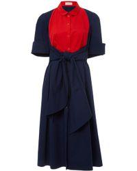 Delpozo - Bicolor Cotton Shirt Dress - Lyst
