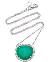 Sara Weinstock - 18k White Gold, Chrysoprase And Diamond Necklace - Lyst