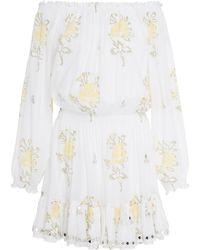 Juliet Dunn - Off-the-shoulder Floral-print Mini Dress - Lyst