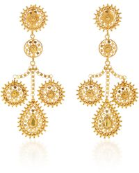 Hanut Singh - 18k Yellow Gold Filigree Girandole Pendant Earrings - Lyst