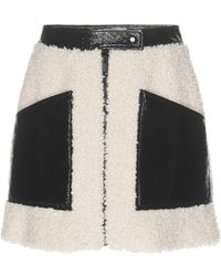 Courreges - Paneled Vinyl And Faux Shearling Mini Skirt - Lyst