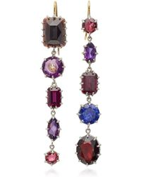 Renee Lewis - 18k White Gold, Amethyst, Garnet, Diamond Earrings - Lyst