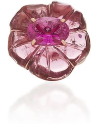 Irene Neuwirth - One-of-a-kind 18k Rose Gold Carved Pink Tourmaline Flower Ring - Lyst