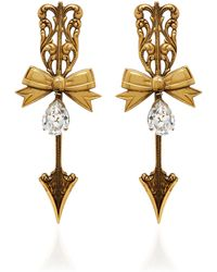 Rodarte | Antique Gold Tailored Bow And Arrow Earrings | Lyst