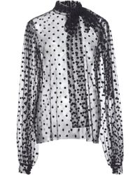 Costarellos - Plush Dotted Tulle Bow-tie Blouse - Lyst