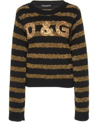 Dolce & Gabbana - Embroidered Sweater In Cashmere And Lurex - Lyst