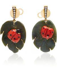 Silvia Furmanovich - Sculptural Botanical Marquetry Ladybug Earrings - Lyst
