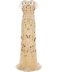 Needle & Thread - Dust Yellow Floral Embroidered Tiered Maxi Dress - Lyst