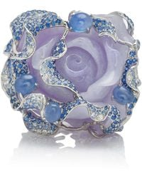 Wendy Yue - 18k White Gold, Purple Jade, Sapphire And Diamond Ring - Lyst