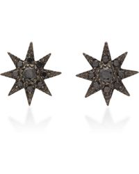 Colette - 18k Oxidized Gold And Black Diamond Earrings - Lyst