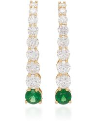 Melissa Kaye - Aria 18k Gold, Diamond And Tsavorite Garnet Earrings - Lyst