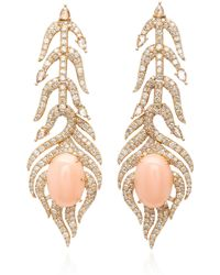 Sutra - 18k Rose Gold, Pink Opal And Diamond Earrings - Lyst