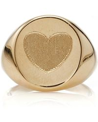 Emily & Ashley - Yellow Gold Heart Signet Pinky Ring - Lyst